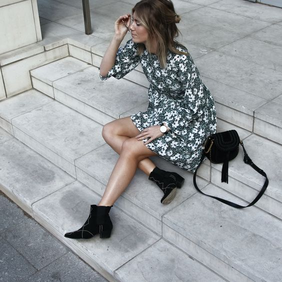 Dresses and ankle boots are the best pairings for fall!
