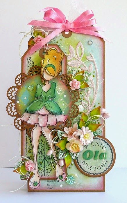kartkulec, Tag with flowers and Prima Julie Nutting Doll