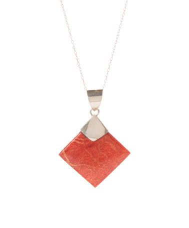 Another great find on #zulily! Coral & Sterling Silver Diamond Pendant Necklace #zulilyfinds