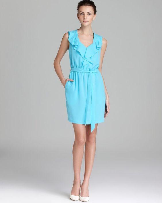 DIANE VON FURSTENBERG NWT Bobbie Blue Chiffon Ruffled Casual Dress 8 #DianeVonFurstenberg #CasualDress #Casual