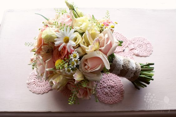 https://flic.kr/p/ehKJSV | bridesmaid bouquet in pink, coral, and lemon | rose, ranunculus, daisy, craspedia, chamomile, and lisianthus