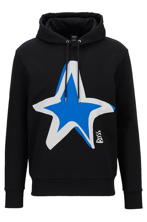 Regular-fit cotton sweatshirt with star motif - Black Sweatshirts and Jogging Pants from BOSS for Men in the official HUGO BOSS Online Store free shipping