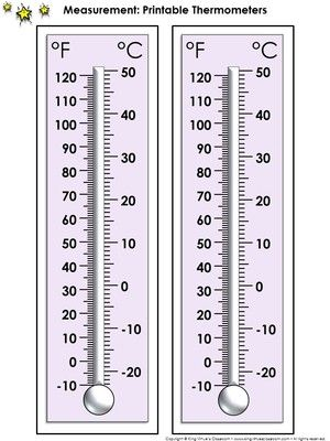 Thermometer Measurement Tools: Printable Thermometer Celsius and Farenheit from King Virtue on TeachersNotebook.com -  (1 page)  - Thermometer Measurement Tools: Printable Thermometer Celsius and Fahrenheit - U.S. Customary and Metric System - King Virtue's Classroom  Never run out of thermometers again! Use this item to print th