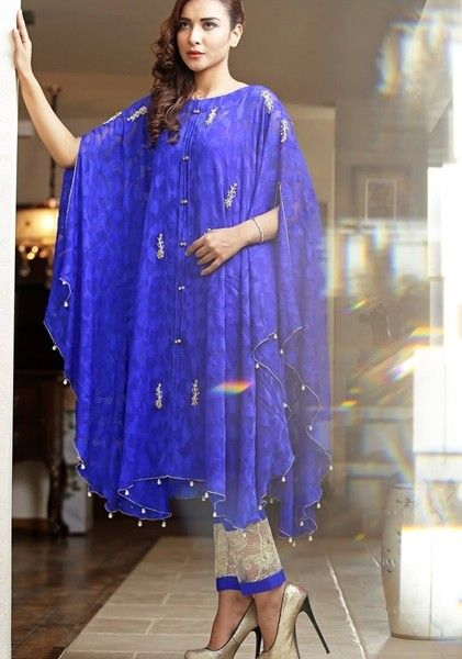 Stitching Styles Of Pakistani Dresses Blue Cape Style Shirt