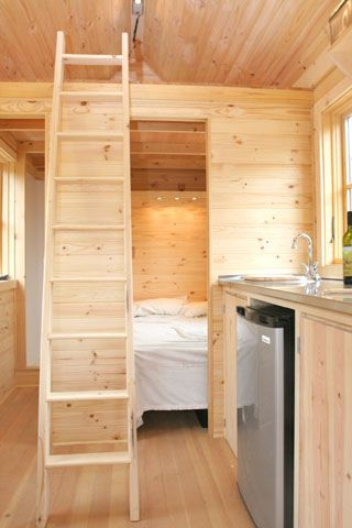 Interior view to Bedroom Loft bathroom by Tumbleweed Tiny