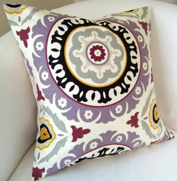 Purple Suzani Purple Pillow Cover 18 or 20  Inch by nestables, $25.00
