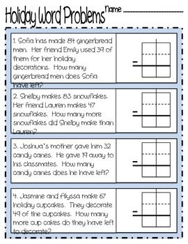 Holiday Subtraction with Regrouping Word Problems! Download and ...