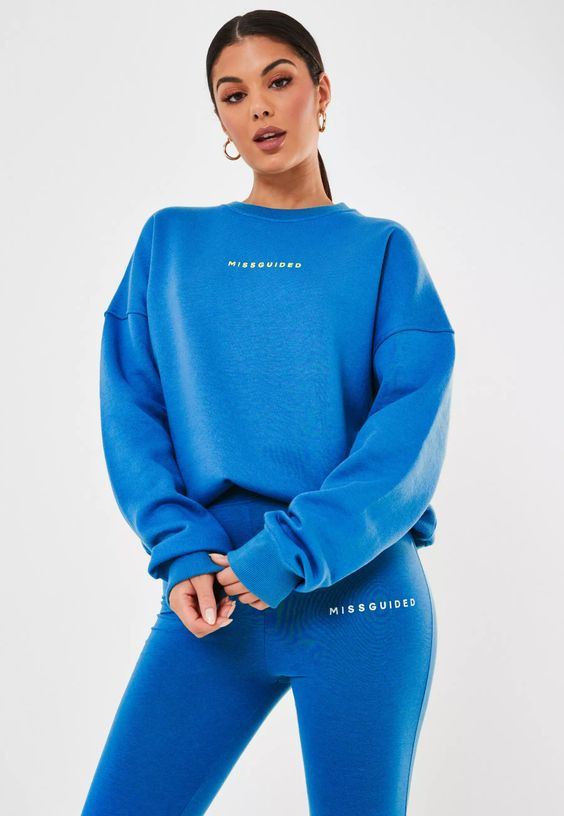 blue brushed back basic missguided oversized sweatshirt