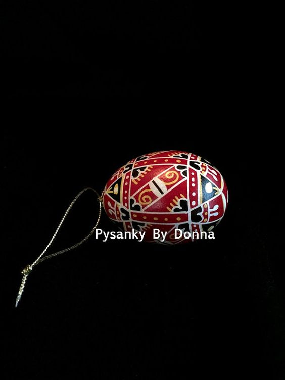 Traditional Pysanky Pysanka Batik Chicken Egg by PysankyByDonnaJ