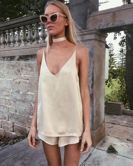 Add a choker...and perfect! Also, love the monochromatic-silk look