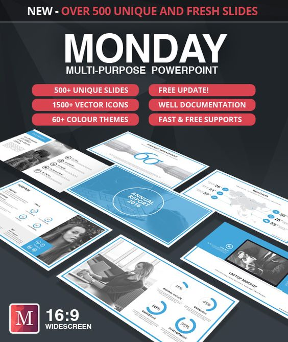Monday PowerPoint Template. Download here: https://graphicriver.net/item/monday-powerpoint-template/17308332?ref=ksioks
