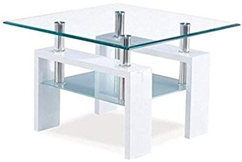 New Global Furniture Clear Frosted Occasional End Table Glossy White Legs Online Greattopfurniture In 2020 Global Furniture Global Furniture Usa White End Tables
