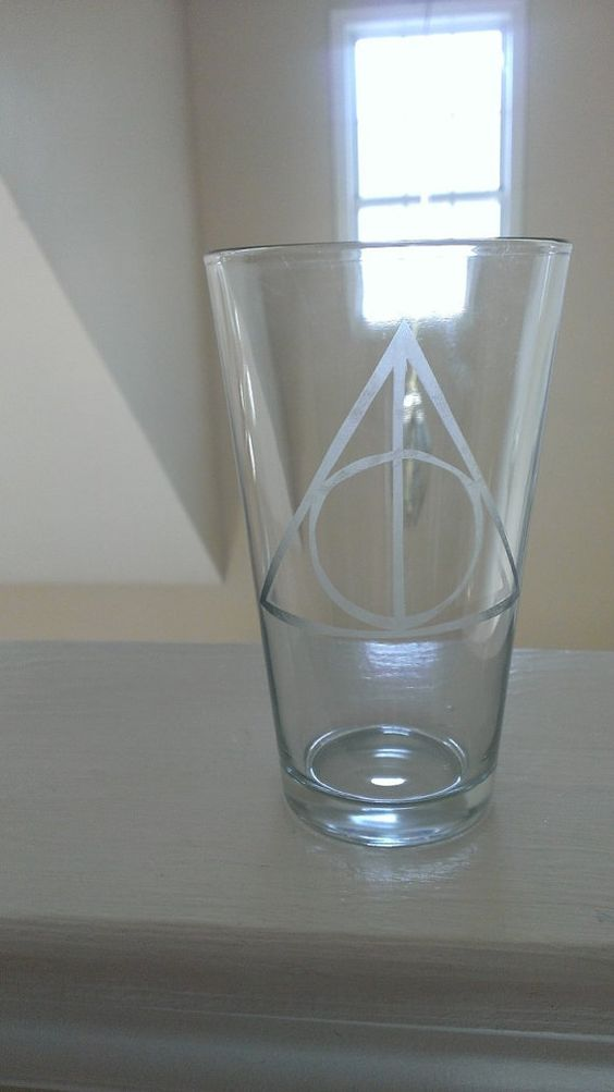 Deathly Hallows Etched Pint Glass