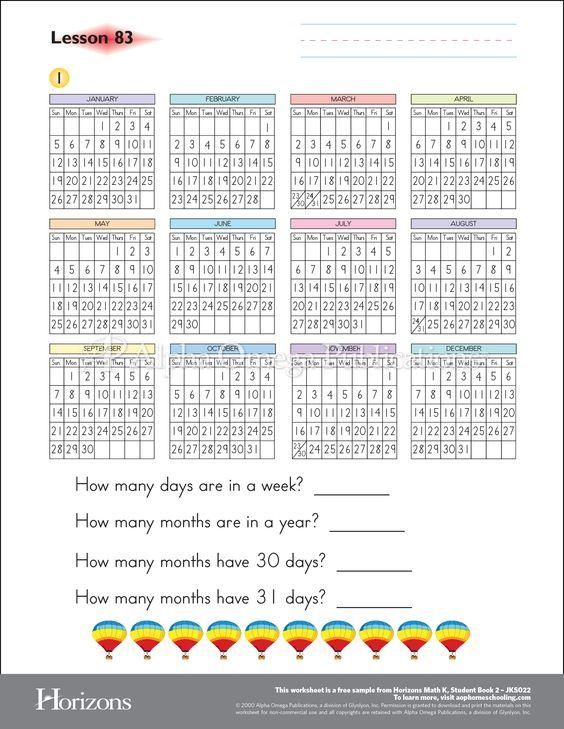 Horizons kindergarten math AOP sample worksheet curriculum – Homeschool Kindergarten Worksheets