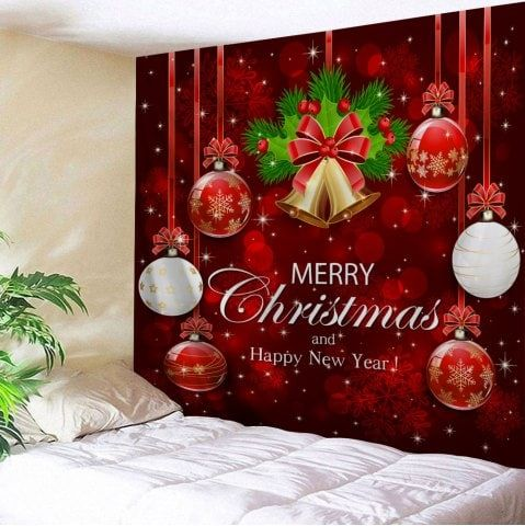 Wall Decor Merry Christmas Bell Ball Tapestry Christmas Wall Decor Christmas Wall Art Outdoor Christmas Decorations