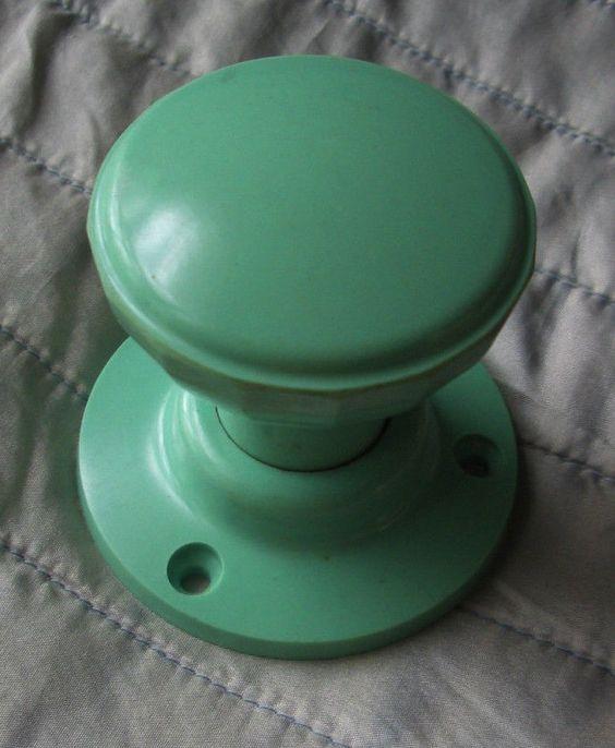 Vintage Mint Green Bakelite Door Handle Early Plastics