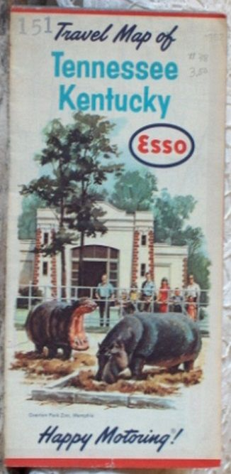 http://ajunkeeshoppe.blogspot.com/ ROAD MAP 1962 Esso Interstate Highway Routes Tennessee Kentucky States