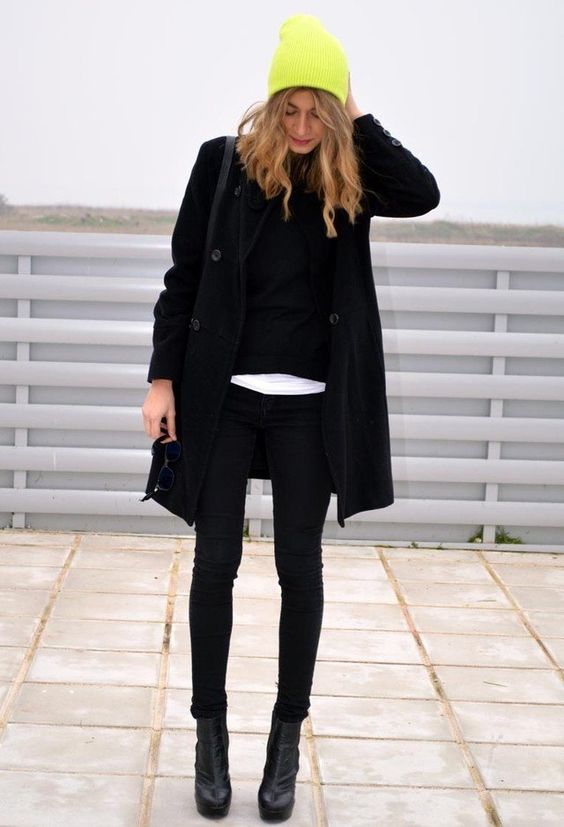 @roressclothes closet ideas #women fashion outfit #clothing style apparel Bright Yellow Knitted Hat with All Black Outfit