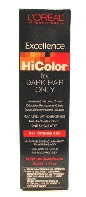loreal coloration permanente excellence hicolor intense red rouge incandescent tube de 51 - L Oreal Coloration Rouge
