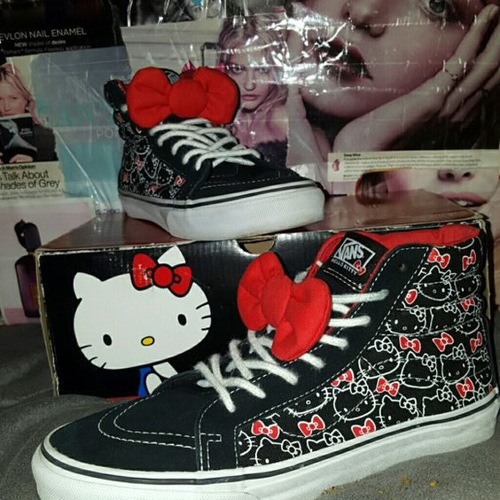 Hello Kitty, Vans sk8-hi slim big red bow sk8 shoe Exclusively Adorable &fun! Hello Kitty Blk,Tru Wht&Red sk8 high tops.  Limited edition Fantastic Condition size 6.5 mens or 8 WOMENS!! 100% OF sales go to a fellow Posher who was left destitute with her 3 kids after her ex husband fled during indictment ceasing to pay child support and alimony.  Home in foreclosure, car repossessed and selling everything to pay bills and provide. I am selling everything to assist them. I have stood next to…