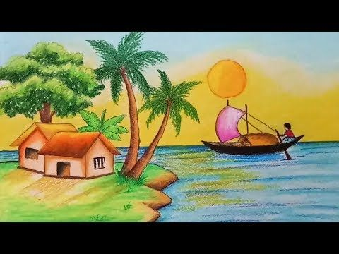 How To Draw Scenery Of River Side Village Step By Step Easy Draw