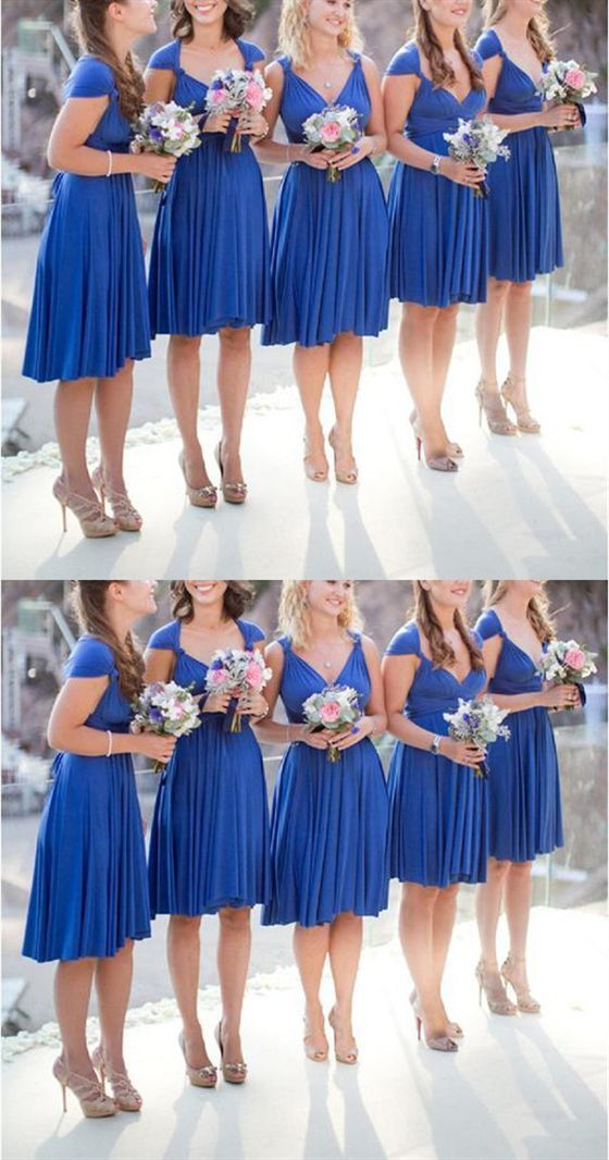 Pin By Halie Fryberger On Wedding In 2020 Blue Bridesmaid Dresses Short Short Royal Blue Bridesmaid Dresses Infinity Dress Bridesmaid