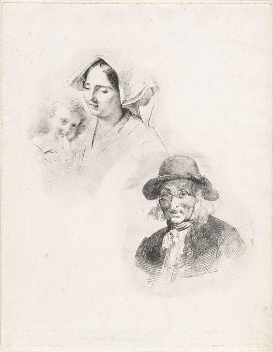 Lodewijk Anthony Vintcent | Vrouw met een kind en oude man, Lodewijk Anthony Vintcent, 1822 - 1842 | Een vrouw met een kindje, dat de linker wijsvinger in de mond houdt en een buste van een oude man met bakkebaarden.
