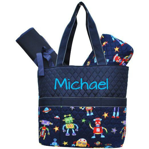 Hey, I found this really awesome Etsy listing at https://www.etsy.com/listing/282114822/monogrammed-diaper-bag-robot-diaper-bag