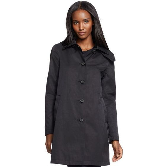 Lauren Ralph Lauren Hooded A-Line Raincoat ($100) ❤ liked on Polyvore featuring outerwear, coats, black, a line trench coat, lauren ralph lauren coats, mac trench coat, trench coat and rain coat