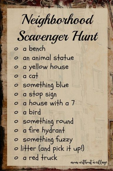 Neighborhood Scavenger Hunt - A way to have a little extra fun on your afternoon walks!