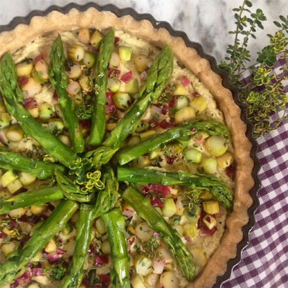 Green Asparagus Quiche  Quiche mit grünem Spargel vegan, soy-free, wheat-free