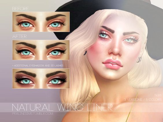 Soft winged liner with inner corner highlight in 3 versions, 5 colors each. All genders. DOWNLOAD