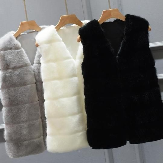 Women's Winter Warm Outwear Coat Ladies Faux Fur Waistcoat Jacket Overcoat