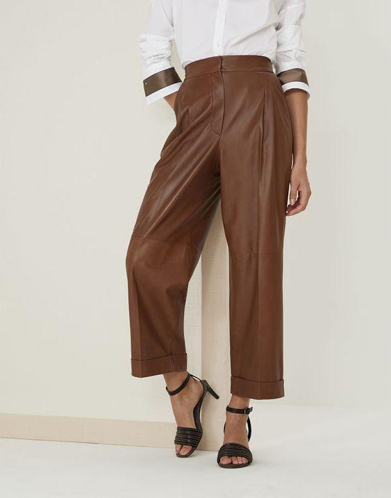 Recommendation Кожаные брюки Сигарный Женщина Brunello Cucinelli