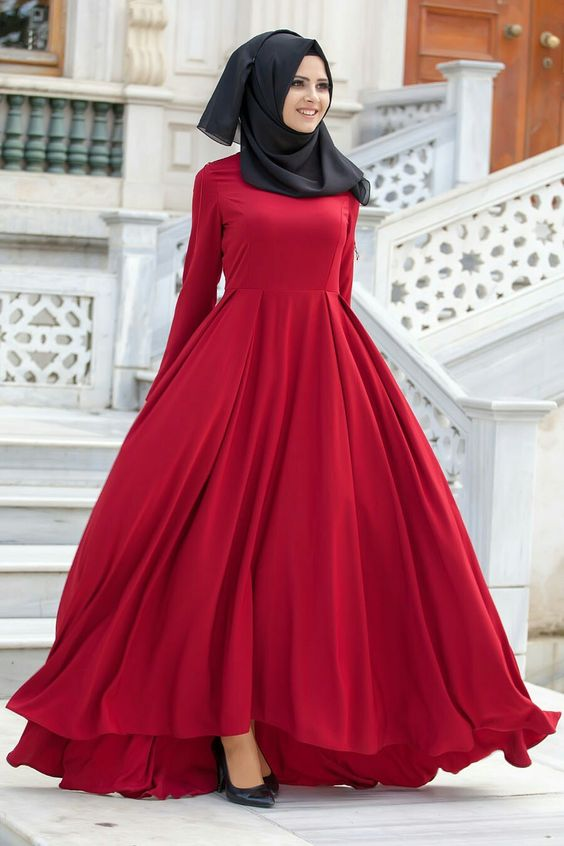 Long Red frock with Black hijab for party