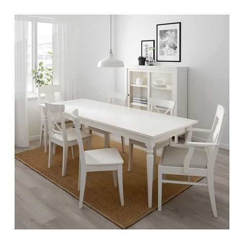 Ingatorp Ingolf Table And 6 Chairs White Nordvalla Beige Ikea In 2020 Dining Table Modern White Bathroom Ikea