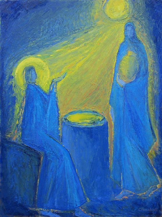 """Macha Chmakoff NOUVEAU TESTAMENT et Saints La Samaritaine n°2 """"Si tu savais le don de Dieu"""" Jean 4,10 (130x97)"""