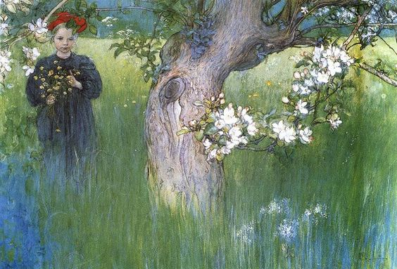 1898 Apple Tree in Blossom: Carl Larsson
