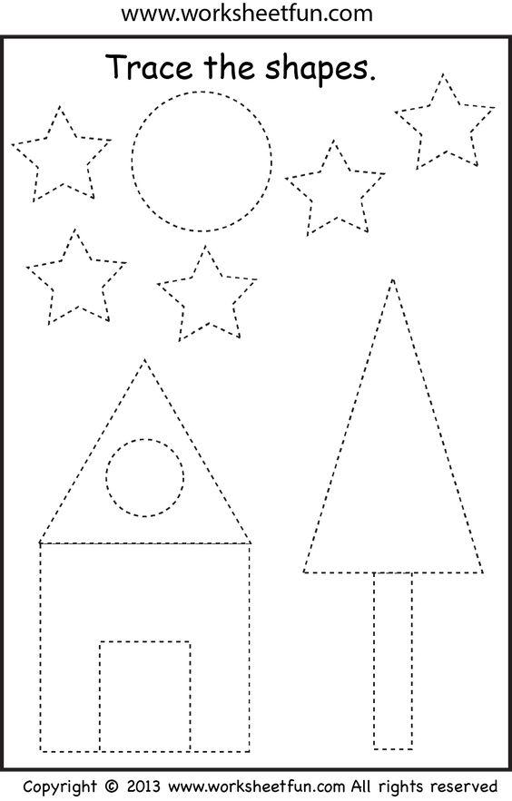 preschool shape tracing worksheet pinterest trees activities and shape. Black Bedroom Furniture Sets. Home Design Ideas