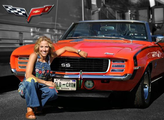 Sheryl Crow with her 1969 Chevrolet Camaro SS Convertibile