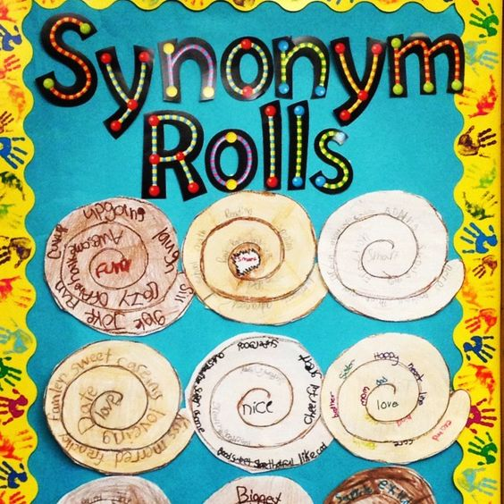 Synonym Rolls~  The common word goes in the middle, and students write 10-12 synonyms along the swirly lines.  Color it in lightly with cinnamon and glaze colors and you have a yummy display.  Great idea from We've Got a Diem to Carpe!