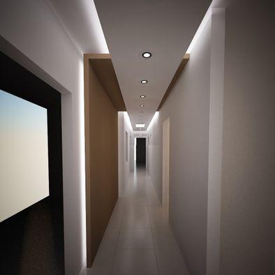 Superposición de planos y materiales, iluminación estratégica... en pasillo • Floating ceiling, lighting and differing materials