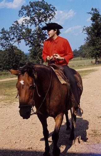 Paul McCartney riding a horse at the Pigman ranch in Missouri, during a break of their first US tour, 19 Sept. 1964