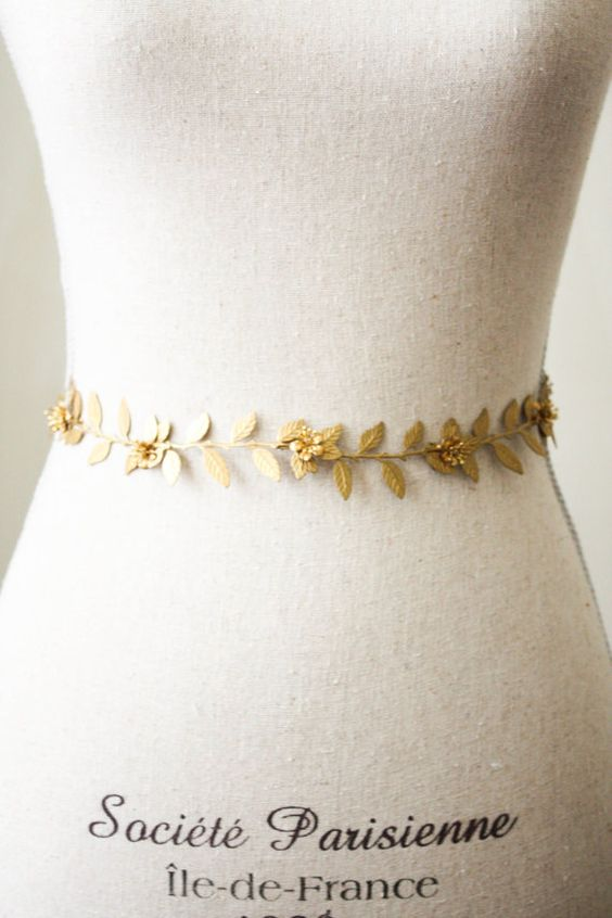 Hey, I found this really awesome Etsy listing at https://www.etsy.com/listing/217231863/flower-vine-sash-gold-sash-gold-leaf