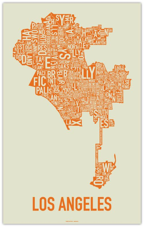 Ork posters--Los Angeles. We have this orange one in our front room (also comes in black and blue): http://www.orkposters.com/