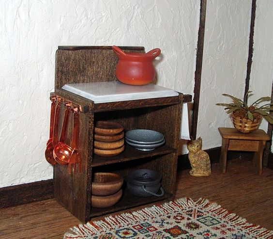 Rustic Kitchen Cabinet with Chopping Block by CalicoJewels on Etsy, $38.00