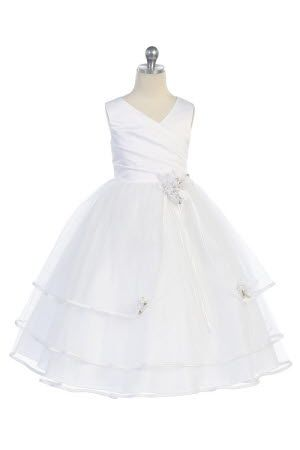 White Satin & tulle long flower girl dress  This would make a lovely style of wedding dress.