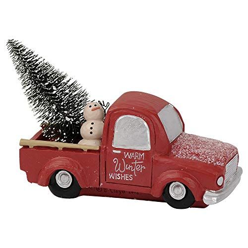 Blossom Bucket Warm Winter Wishes Truck 4 5 X 3 75 Inch Resin Stone Christmas Tabletop Figurine Christmas Ornaments Top Brands Artists Designer Names Bucket Warmer Christmas Tabletop Red Truck Decor