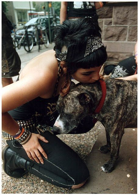 Crust punk with dog