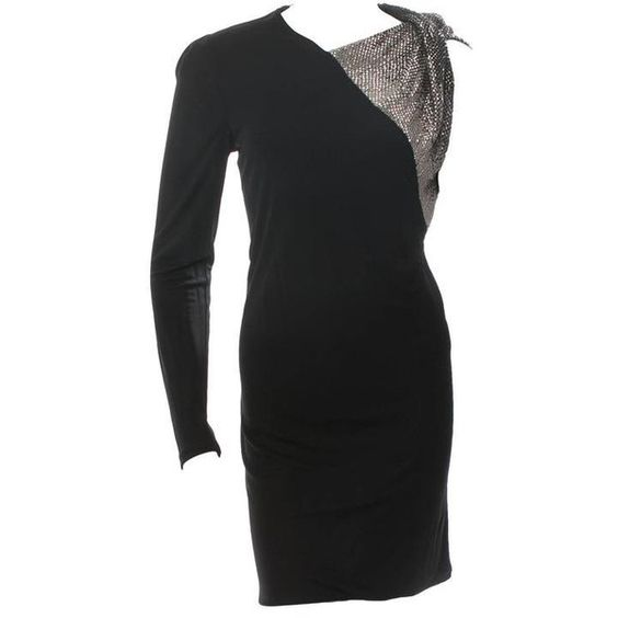 Preowned Gucci Black Viscose Asymmetric Sleeve Sequin Beaded Cocktail... ($925) ❤ liked on Polyvore featuring dresses, black, one sleeve dress, sequin dress, sequin holiday dresses, cocktail dresses and one shoulder dress
